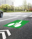 Symbole thermocollé homme à vélo vert